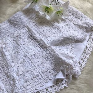 Pants - Lace White Shorts